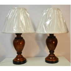 Wood pair of table lamps dark turned wood cream quality shade aloadofball